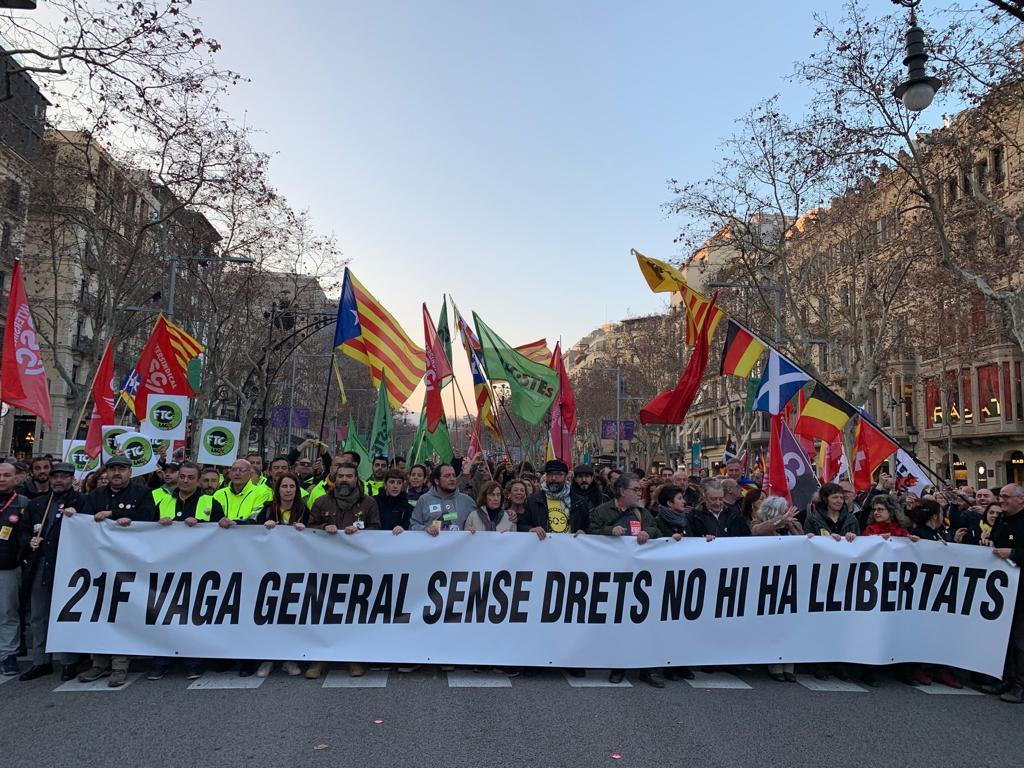 """Catalogne : L'Intersindical-CSC (FSM) salue la """"large"""" mobilisation pendant la grève générale"""