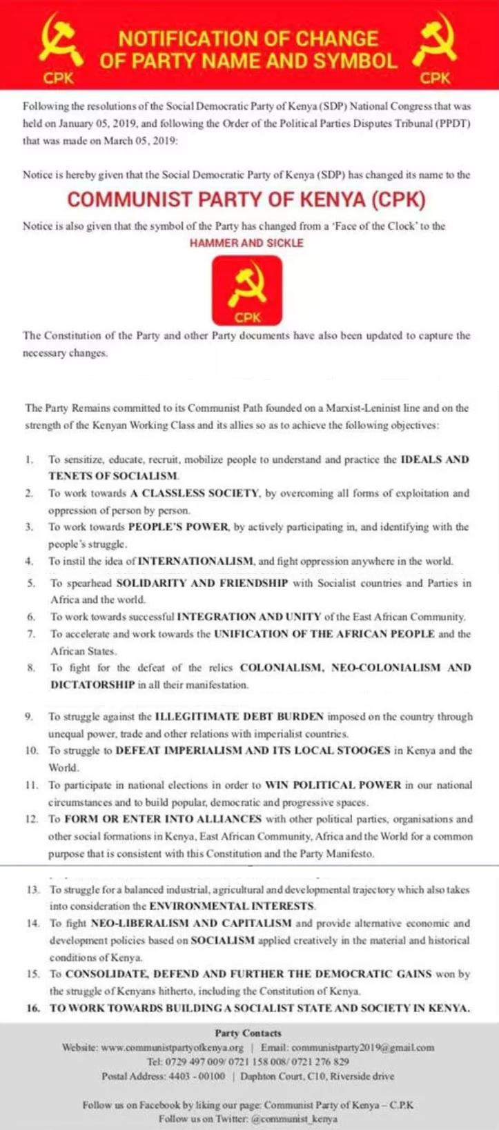 Le Parti Social-démocrate du Kenya devient le Parti Communiste du Kenya