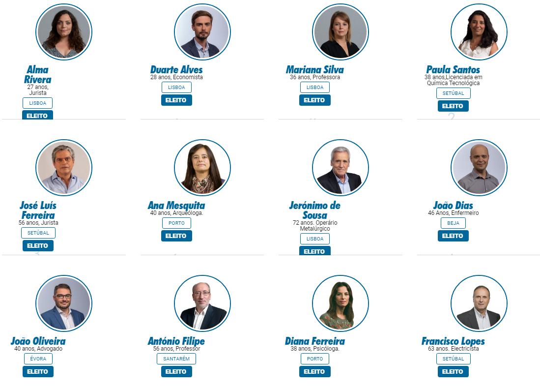 Les 12 député.e.s élu.e.s de la Coalition Démocratique Unitaire (PCP-PEV)