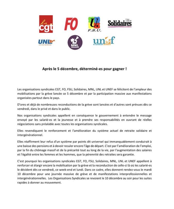 L'intersyndicale appelle à la grève le 10 décembre