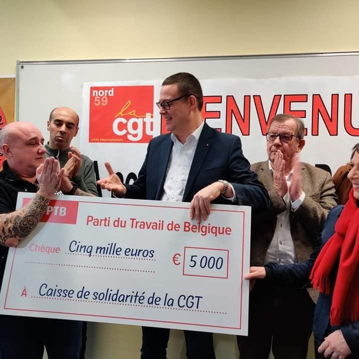 Retraites : Le PTB organise la solidarité avec les grévistes en France