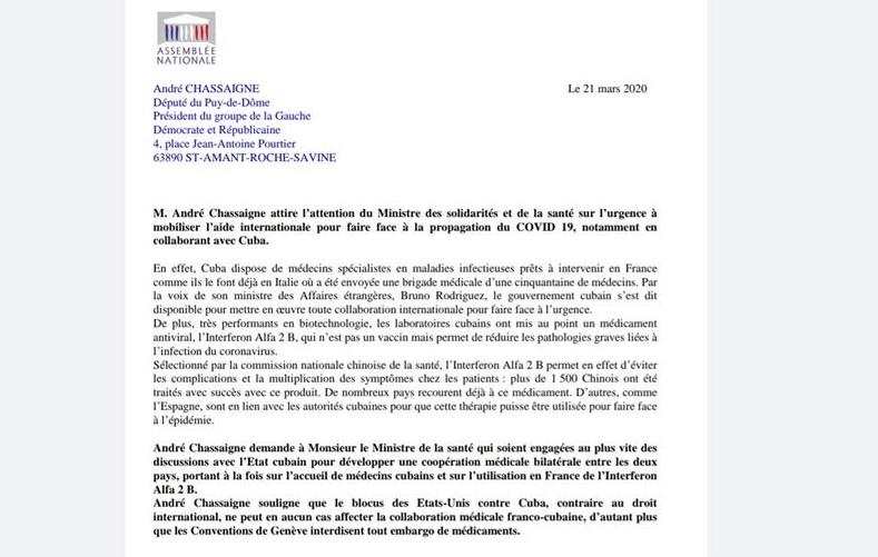 Covid-19 : André Chassaigne (PCF) demande que la France entame une coopération médicale avec Cuba