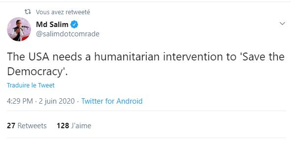 """Un dirigeant communiste appelle à """"une intervention humanitaire pour sauver la démocratie"""" aux USA"""