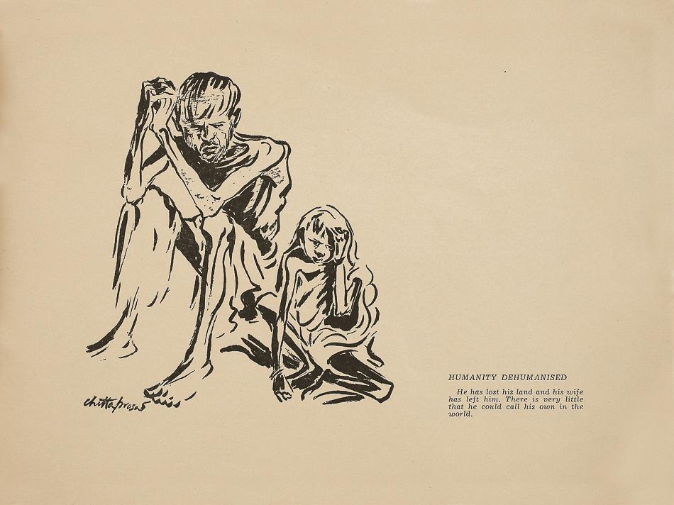 Une page de Hungry Bengal (1945) de Chittaprosad. Des exemplaires du livre ont été saisis et brûlés par les Britanniques; ce dessin est du seul exemplaire qui subsiste. Les dessins de Chittaprosad sur la famine du Bengale ont été publiés dans la revue People's War du Parti Communiste d'Inde, contribuant à intensifier la colère populaire contre le régime colonial britannique