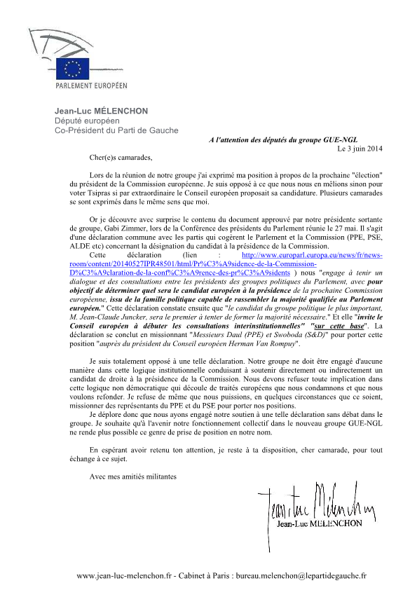 GUE/NGL : Après le départ du KKE, Jean Luc Mélenchon (PG) tire lui aussi la sonnette d'alarme