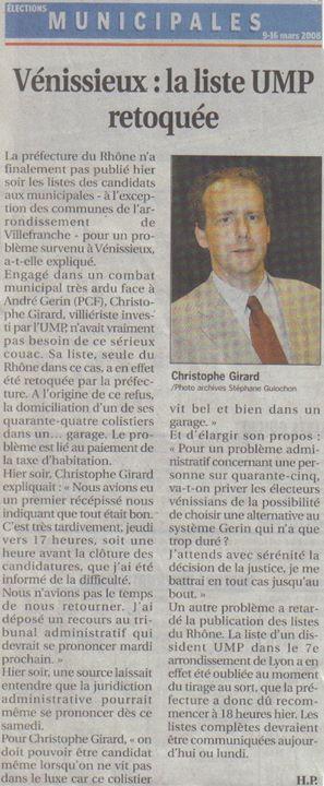 Vénissieux : En 2008 l'invalideur (Christophe Girard - UMP) invalidé (rappel)