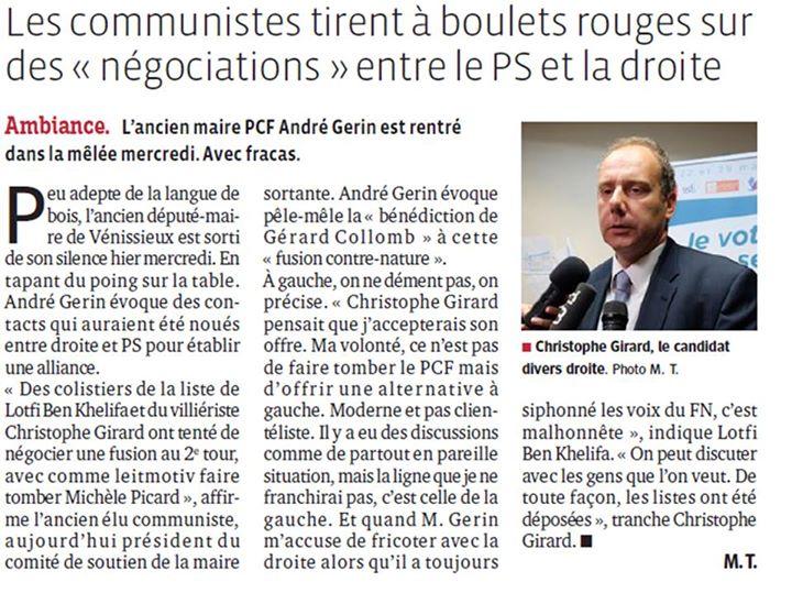 Pour Gérard Collomb, plutôt l'UMP que le PCF à Vénissieux