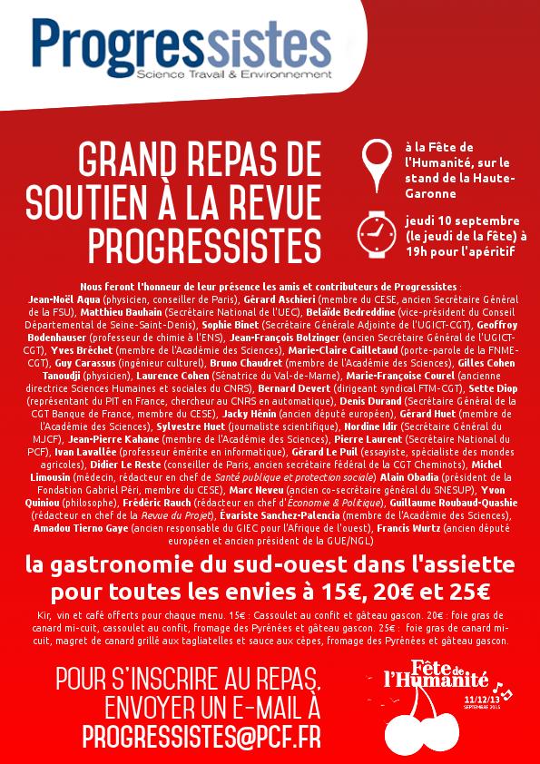 """A ne pas rater, le repas de soutien à la revue du PCF """"Progressistes"""""""