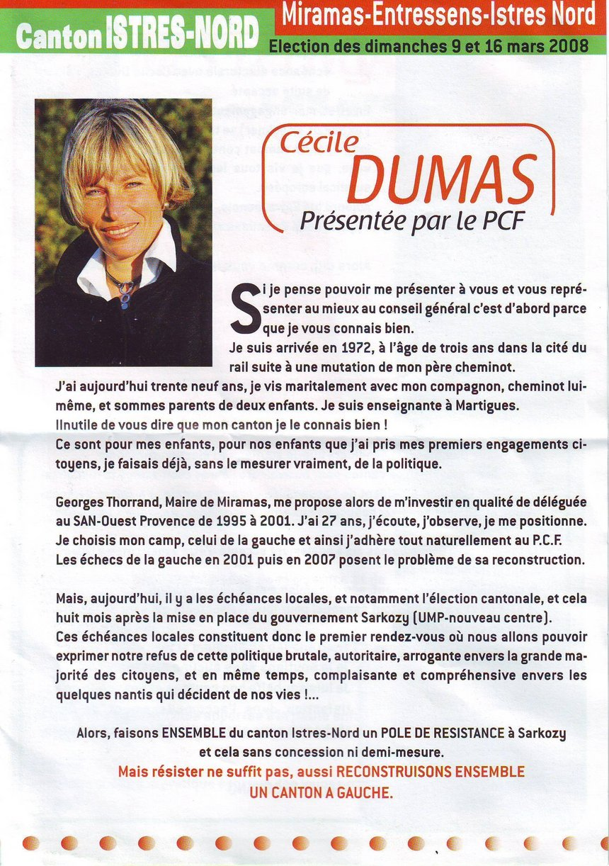 Election cantonale Istres Nord: Cécile Dumas candidate du PCF