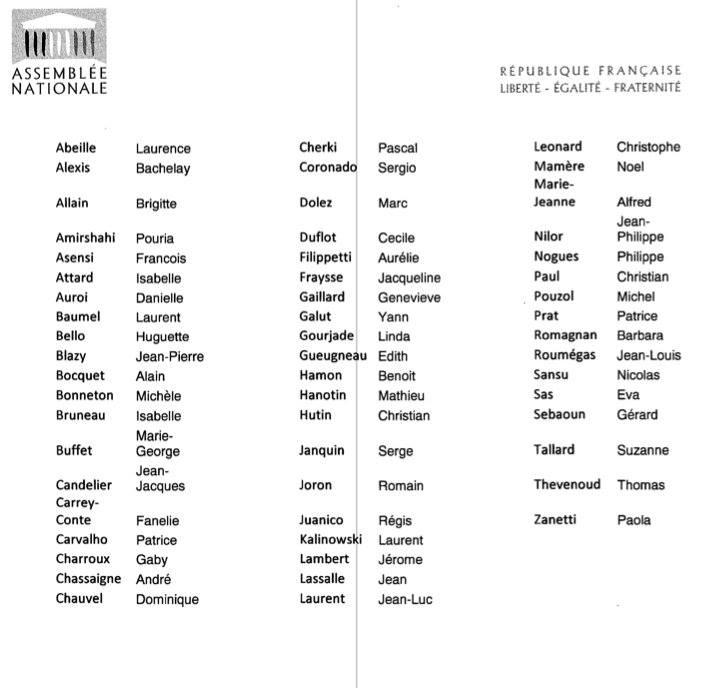 Liste des 56 parlementaires qui ont eu du courage de s'opposer au 49-3