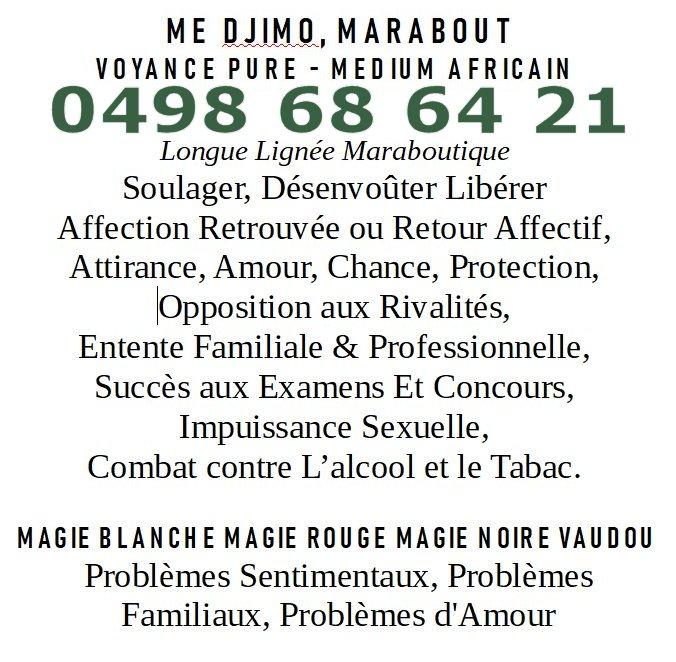 Maître Djimo, marabout voyance pure medium africain Tournai