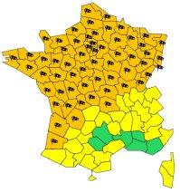 Tempête: 58 départements en alerte orange