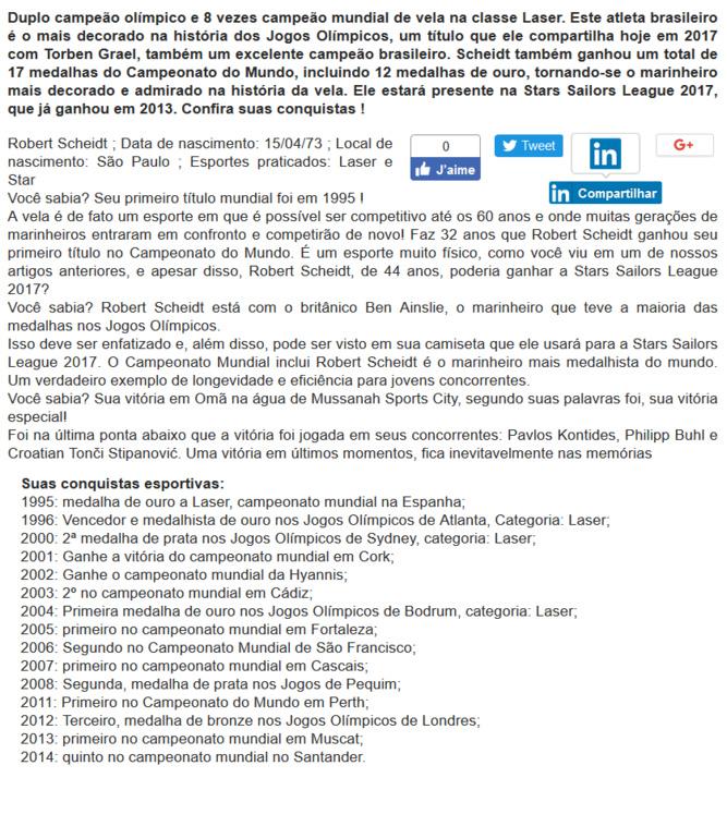 R. Scheidt à Stars Sailors League, version portugaise: |R. Scheidt na Stars Sailors League|