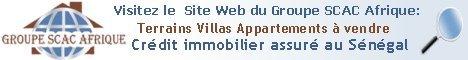 Cliquez sur la bannière pour afficher le site internet du Groupe SCAC: Terrains appartements et villas à vendre Sénégal