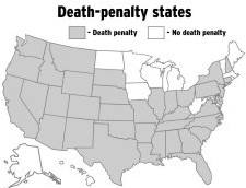 La peine de mort est maintenue dans les états en blanc