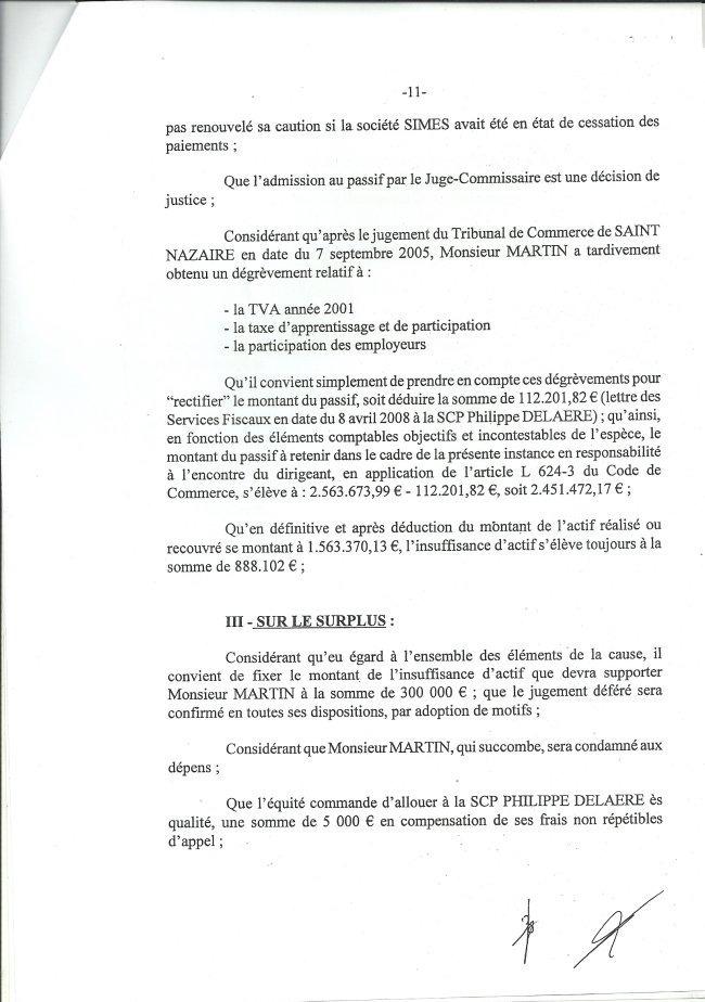 Thierry Maury contre Michel Martin, Arrêté de la Cour d'appel de Rennes à l'encontre de Michel Martin.