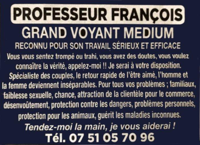 Professeur François grand voyant medium spécialiste des couples Creuse 23