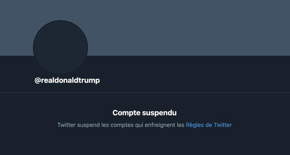 Twitter : Suspension de Donald Trump ; la réaction du président