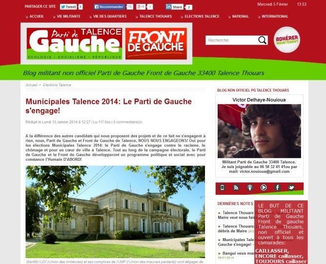 Blog Parti de Gauche Front de Gauche Elections municipales Talence 2014