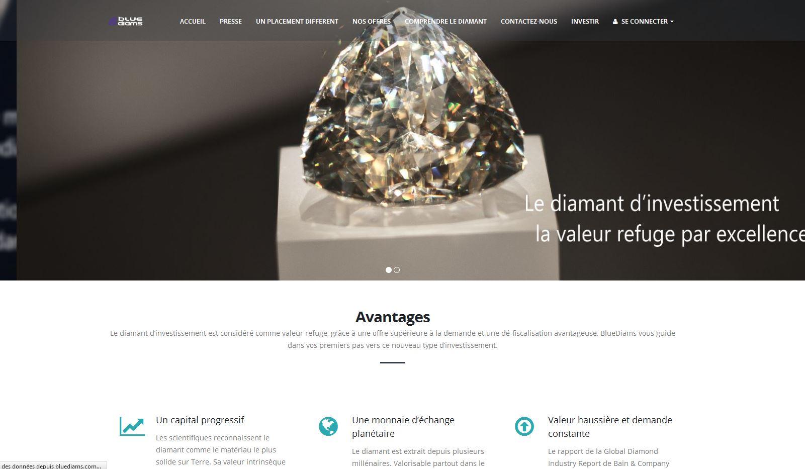 Bluediams - Diamant d'investissement