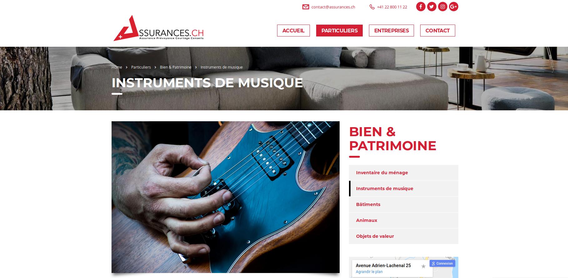 Assurance instrument de musique