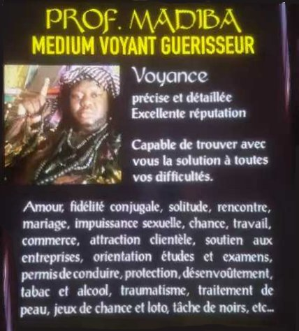 Pr Med Madiba medium voyant guérisseur Guadeloupe Antilles