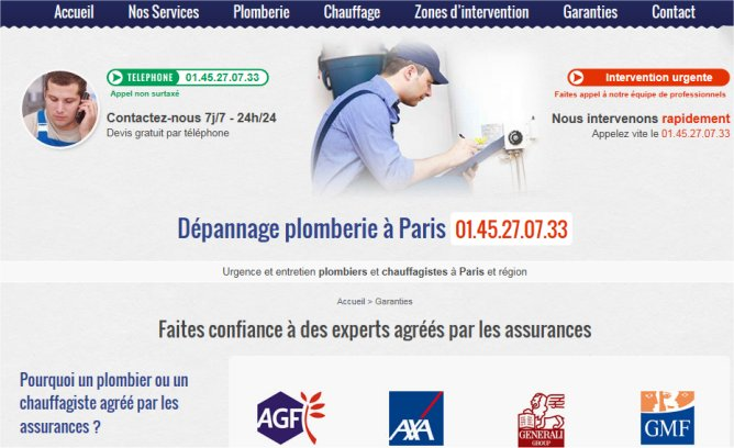DEPANNAGE PLOMBERIE PLOMBIER PARIS 01 45 27 07 33