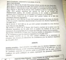 Sénégal-Elections législative : la liste des partis et coalitions de partis retenus pour les élections législatives du 30 Juillet 2017